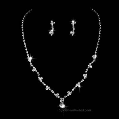 Unicra Bride Silver Necklace Earrings Set Crystal Bridal Wedding Jewelry Sets Rhinestone Choker Necklace for Women and Girls3 piece set - 2 earrings and 1 necklace Set 2