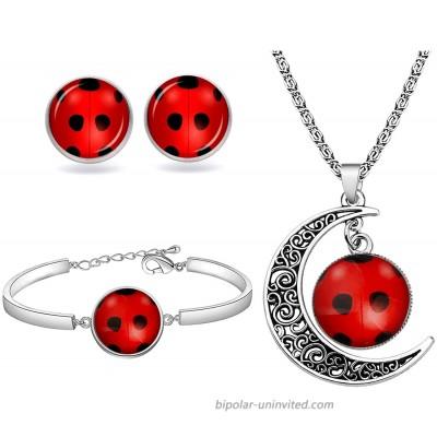 WSNANG Good Luck Ladybug Jewelry Ladybug Bracelet Necklace Stud Set Ladybug Lover Gift Insect Lover Gift Wish Lucky Gift for Women Girl Ladybug Set