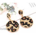 XOCARTIGE Leopard Necklace Earrings Set for Women Animal Print Long Pendant Necklaces Pony Hair Drop Dangle Earrings Statement Jewelry Set Style A