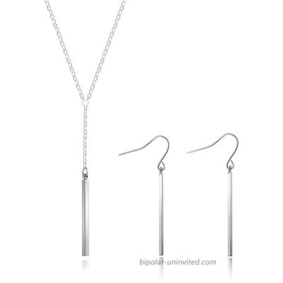 Y Necklace Earrings Set for Women Y Chain Pendant Vertical Bar Dangle Earrings Adjustable Long Bar Pendant Necklace Minimalism Drop Bar Jewelry