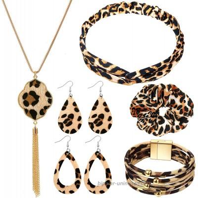 Yaomiao Leopard Print Jewelry Set Leopard Bracelet Faux Leather Dangle Earrings Long Tassel Pendant Necklace Headband Head Wrap
