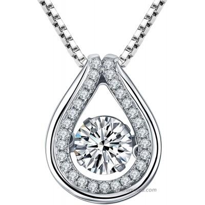 YL Teardrop Necklace Sterling Silver Dancing Diamond Pendant Halo Cubic Zirconia Jewelry for Women