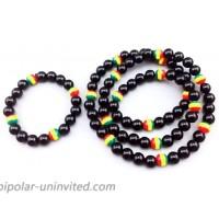 Yuren Jamaican Rasta Bracelet And Necklace Tricolor Bracelet Men Women Fashion Jewelry