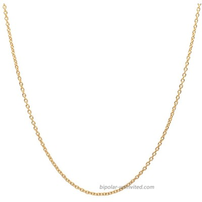 10K Yellow Gold 2.0MM Round Rolo Link Chain Necklace - Made in Italy Yellow 18