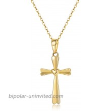14k Gold Heart Cross Necklaces for Women Solid Gold Chain and Cross Pendant Baptism Religious Jewelry Gifts for Her 16+1+1 Inch