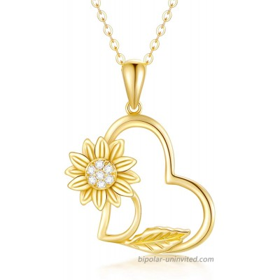 14k Yellow Gold Sunflower Heart Necklace for Women You are my sunshine Real Gold Love Jewelry Gifts for Wife Girlfriend Present for Her16-18