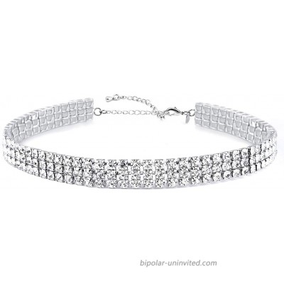 3 Row Rhinestone Choker Necklace for Women White Gold Plated 12.4 inch