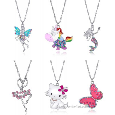 6 Pcs Cute Necklaces for Teen Girls - Adorable Pastel Crystal Necklace for Little Girls - Unicorn Gifts for Girls - Fairy Gifts for Teens - Dainty Necklace - Butterfly Necklace Cat Necklaces for Women