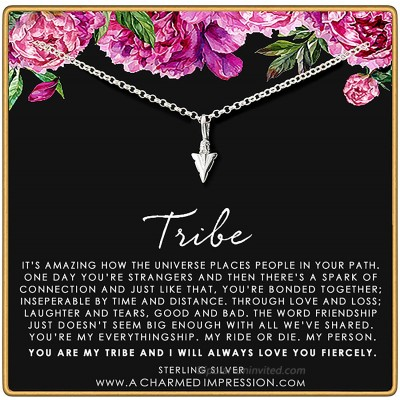 A Charmed Impression Tribe Necklace • Unique Friendship Gifts • Sterling Silver Arrowhead Necklace • Tribe Gift Sister Necklaces for 2 3 4 • Gift for Best Friends • Arrow Necklace • You are My Person