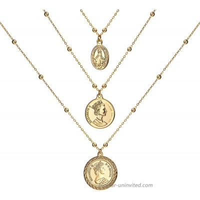 ACC PLANET Coin Necklace 18K Gold Plated Vintage Medallion Coin Pendant Mother's Day Special Jewelry Gifts Gold Layered Necklaces for Women Mom