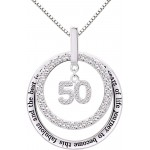 ALOV Jewelry Sterling Silver 50th Birthday It Took 50 Years of Life Journey to Become This Fabulous and the Best is Yet to Come Cubic Zirconia Pendant Necklace