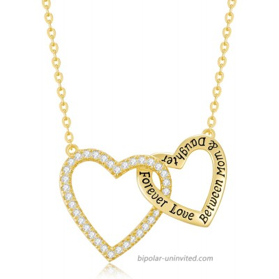 CDE Necklaces for Women Forever Love Between Mom Daughter Necklace 925 Sterling Silver Necklaces Heart Pendant Jewelry Birthday Mother's Day Gifts from Daughter