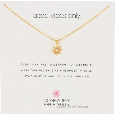 Dogeared Reminders- Good Vibes Only Gold Dipped Sun Charm Necklace 16 w 2 Extender