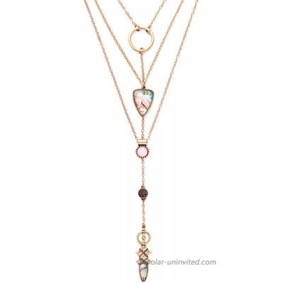 Exquisite Sequins Multilayer Pendant Necklace Multi-layer Bar Pendant Necklace Long Choker Necklace for Women Lady Girl (5)