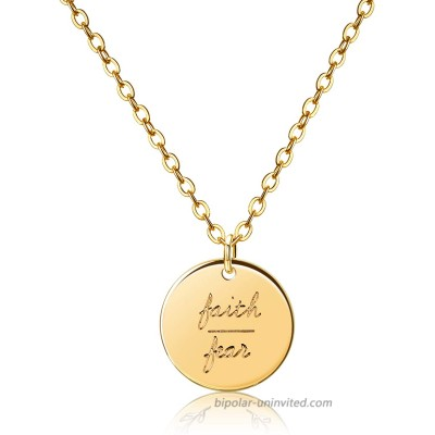 Faith Over Fear Inspirational Disc Necklace 18K Gold Plated Dainty Personalized Quote Motivation Charm Engraved Necklace Minimalist Disk Pendant Necklace Jewelry Gift for Women Girls Daughter 18inch