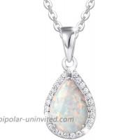 """FANCIME October Birthstone Sterling Silver White Opal Necklace Cubic Zirconia CZ Fire Opal Halo Waterdrop Teardrop Pear Shape Pendant Fine Jewelry for Women Girls 16""""+2"""" Extender"""