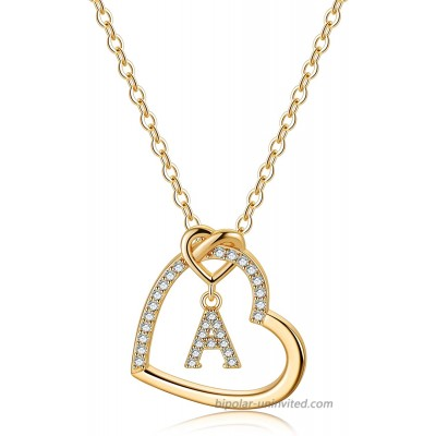 Gold Initial Necklaces for Teen Girls CZ Heart Pendant Initial A Necklaces for Teen Girls Women Dainty Letter Necklace for Women Girls Jewelry Cute Heart Necklace Jewelry for Girls Gifts for Her