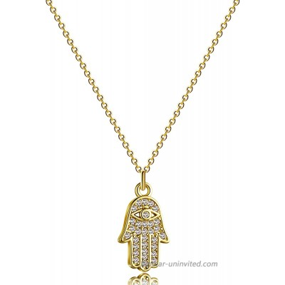 Kyerlyn 14K Gold Plated Hamsa Hand Pendant Necklace Dainty Necklace for Women Handmade Jewerly Gift for Teen Girls