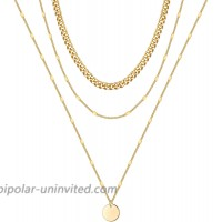 Layered Necklaces for Women Dainty 3 Layered Triple Necklace for Womens Layering Circle Necklace 14K Gold Plated Layered Disc Necklace Gold Layered Chain Necklace for Women Stacklable Necklace Set