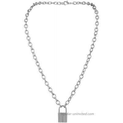 Lock Pendant Necklace Statement Long Chain Punk Multilayer Choker Necklace for Women Girls Silver-Plated