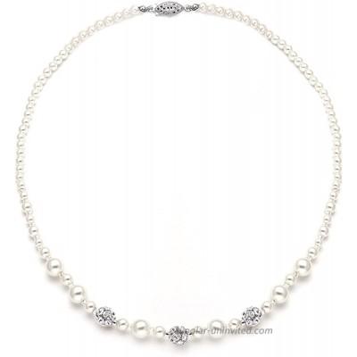 Mariell Ivory Pearl & Swarovski Rhinestone Crystal Wedding Tennis Necklace for Women Jewelry for Brides