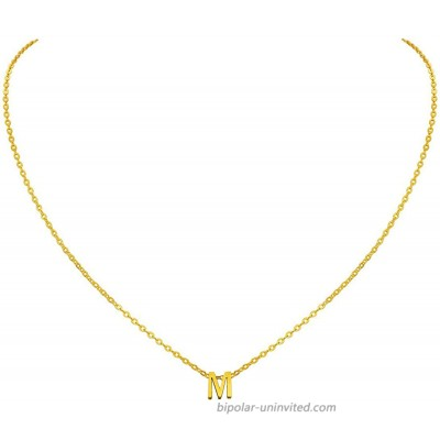 MOMOL Tiny Initial Necklace 18K Gold Plated Stainless Steel Initial Necklace Dainty Personalized Letter M Necklace Minimalist Delicate Small Monogram Name Necklace for Women Girls