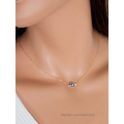 O3 Hermashy Evil Eye Pendant Necklace Gold Chain Necklaces Fashion Jewelry Gift for Women and Girls