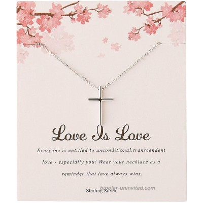 Sterling Silver Cross Necklace Dainty Platinum Plated 925 Silver Tiny Cross Pendant Necklaces for Women Simple Gold Necklace Jewelry Gift