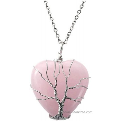Top Plaza Natural Rose Quartz Healing Crystal Necklace Silver Tree Of Life Wire Wrapped Heart Shape Stone Pendant for Womens Girls Ladies Mothers Day Gifts