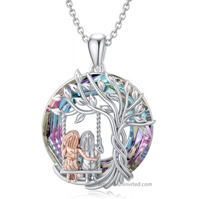 TOUPOP Sister Gifts From Sister Sterling Silver Tree of Life Necklace with Purple Circle Crystal Jewelry Gifts for Women Girls Daughter Friend Birthday Mother's Day