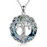 Tree of Life Necklace Jewelry for Women Sterling Silver Celtic Knot Family Tree Pendant With Blue Circle Crystal Irish Jewelry Gifts for Mom Daughter Birthday Christmas Blue