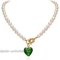 YorzAhar Pearls Necklace   Green Love Heart Pendant Chain   Pearl Necklace Choker for Women Wedding Brides Grandmother