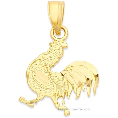 10k Real Solid Gold Year of The Rooster Pendant for Necklace Chinese Zodiac Gifts for Her Horoscope Jewelry