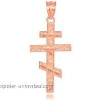 10k Rose Gold Russian Orthodox Cross Pendant