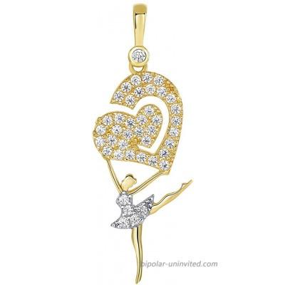 14k Yellow Gold CZ Arabesque Ballerina Dancer Holding Heart Pendant JewelryAmerica