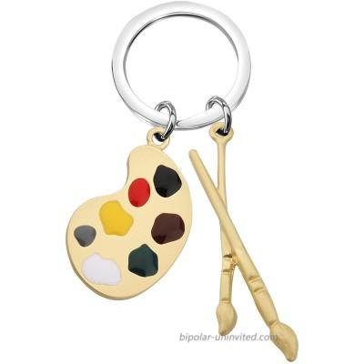 AKTAPPainterGiftArtTeacherGiftArtistPaletteBrushPendantNecklaceArtSchoolGraduationGiftforArtStudentsPaintingFans Artist Palette Brush Charm Keychain