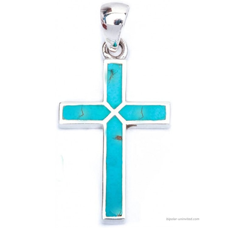 Cross Pendant Cross Charm Simulated Blue Turquoise 925 Sterling Silver 30mm