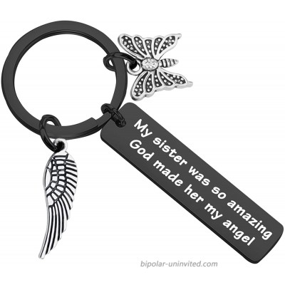 CYTING Sister Memorial Keychain My Sister was So Amazing God Made Her My Angel in Memory of Sister Remembrance Jewelry Loss of Sister Sympathy Gift Sister Memorial Keychain-Black