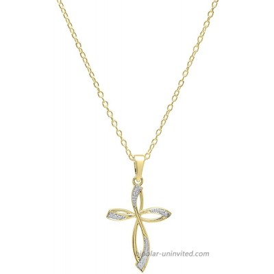 Dazzlingrock Collection 0.03 Carat ctw 18K Round Diamond Ladies Cross Pendant Gold Chain Included Yellow Gold