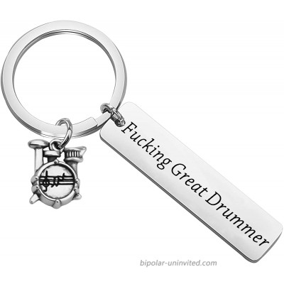 FEELMEM Drummer Gift Jewelry Fucking Great Drummer Keychain Percussion Jewelry Drum Player Band Gifts Drum Kit Gifts Musician Gift Silver