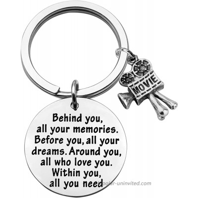 FEELMEM Movie Camera Keychain Film Director Gift Film Student Gift Filmmaker Gift Behind You All Memories Before You All Your Dream Keychain Movie Jewelry Film Keyring Gift Movie Camera Keychain