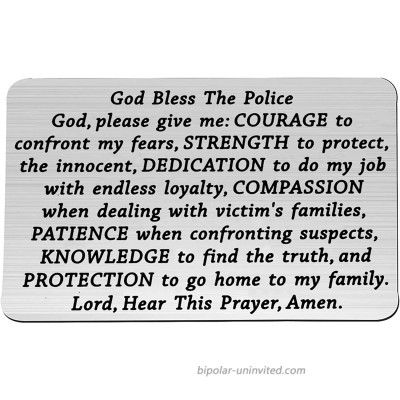 FEELMEM Police Jewelry Police Officer Prayer Wallet Card Police Officers Gifts God Bless The Police God Wallet Insert Card Gift from Police Wife Mom God Bless-WC