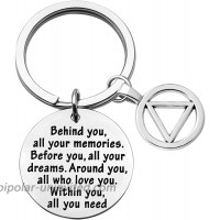 FEELMEM Sobriety Gift Keychain Addiction Recovery Gift Behind You All Memories Before You All Your Dream AA Alcoholics Anonymous Warrior Recovery Gift New Beginnings Gift Sobriety Keychain