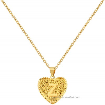 Gold Initial Necklace for Women Heart Capital Letter Yellow Gold Plated A-Z Pendant Necklaces for Teen Girls Z