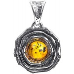 Ian and Valeri Co. Amber Sterling Silver Round Flower Pendant Ian and Valeri Co.