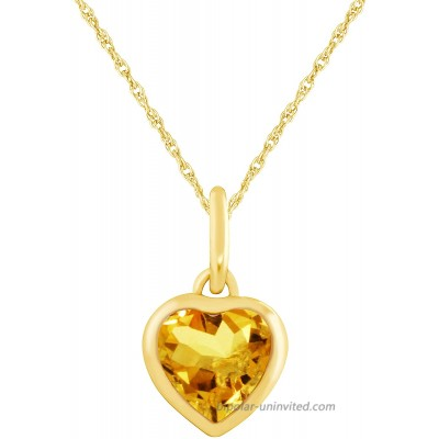 JewelExclusive 10 Karat Yellow Gold Genuine Citrine Heart Pendant on a 18 inch gold filled chain