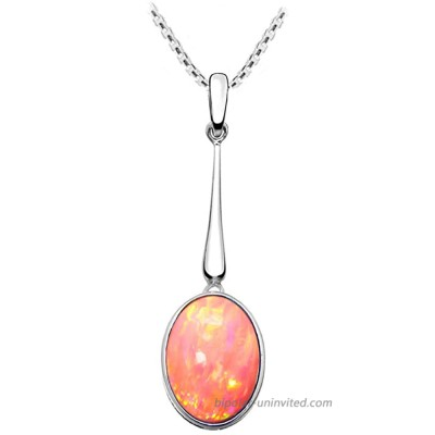 """Paul Wright Created Pink Opal Necklace in 925 Sterling Silver 15mm x 10mm Oval Drop Pendant Design Vibrant Coral Pink Color 16"""" Plus 2"""" Extender"""