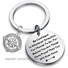 QIIER Graduation Gifts Be Confident In Whatever Direction You Choose To Go Keychain with Compass Charm Graduation Keychain New Adventure Gift silver