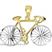 Solid 14k Yellow Gold Two-Tone Bicycle Bike with Textured Wheels Pendant JewelryAmerica