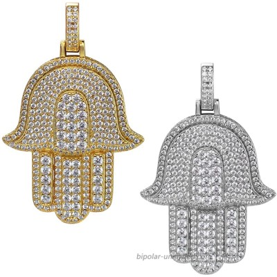 Solid 925 Sterling Silver - Hamsa Pendant - Hip Hop Iced Large Hand Of God Piece - Natural Silver Or Gold Finish Natural Silver |